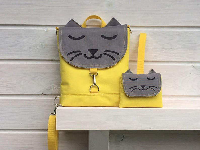 Yellow Cat Backpack and Purse Vegan Cross Body Bag Gray image 0