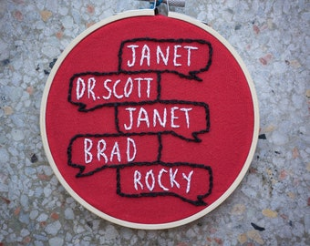 Rocky Horror Picture Show Embroidery Piece | Rocky Horror Quote Embroidery | Frank N Furter | Tim Curry Embroidery