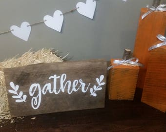 """Rustic """"Gather"""" Pallet Sign, Fall Signs, Harvest Decorations"""