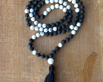 Howlite and Lava Rock Mala Bead Necklace and Wrap Bracelet