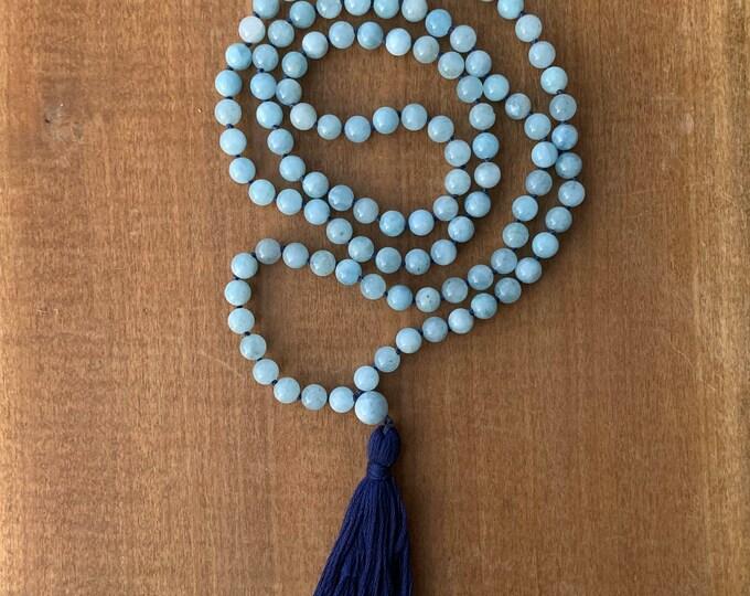 Aquamarine Mala Bead Necklace and Wrap Bracelet