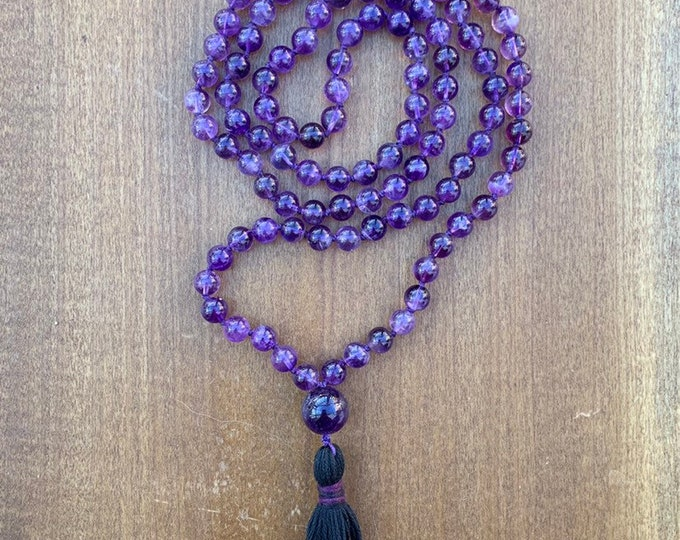 Amethyst Mala Necklace, Amethyst Mala, Amethyst Mala and Wrap Bracelet, Mala beads, 108 Mala Necklace