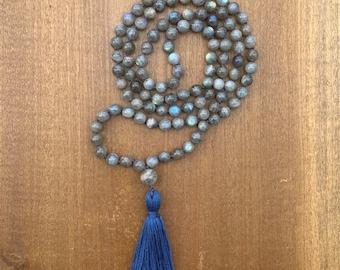 Labradorite Mala, Labradorite Mala Beads, Labradorite Mala and Wrap Bracelet, Mala Necklace, Labradorite, Meditation Beads, 108 Yoga Jewelry
