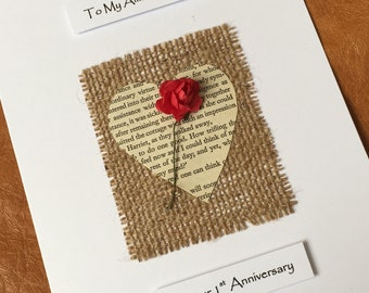 1st Wedding Anniversary Card Paper Anniversary Rustic Handmade Anniversary Cards with a touch of vintage