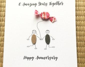 6th Wedding Anniversary Card Sugar Anniversary Card Candy Him Her Husband Wife Stick Couple
