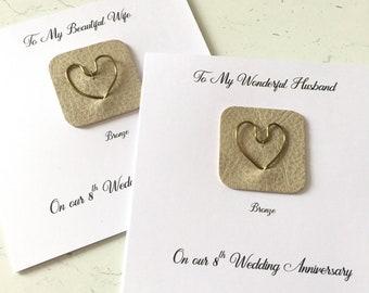 8th Wedding Anniversary Card Bronze Anniversary Leather Bronze Heart Husband Wife Him Her