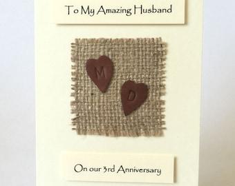 3rd anniversary card etsy