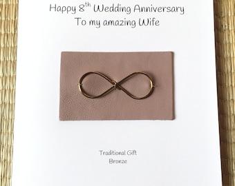 8th Wedding Anniversary Card Bronze Anniversary Infinity Husband Wife Him Her Handmade UK