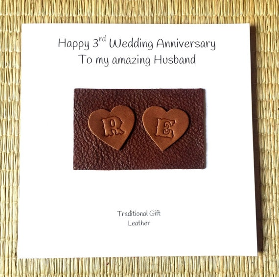 cute handmade greeting cards for husband,anniversary gifts for him GC37 leather anniversary card Custom name 3rd anniversary cards for her