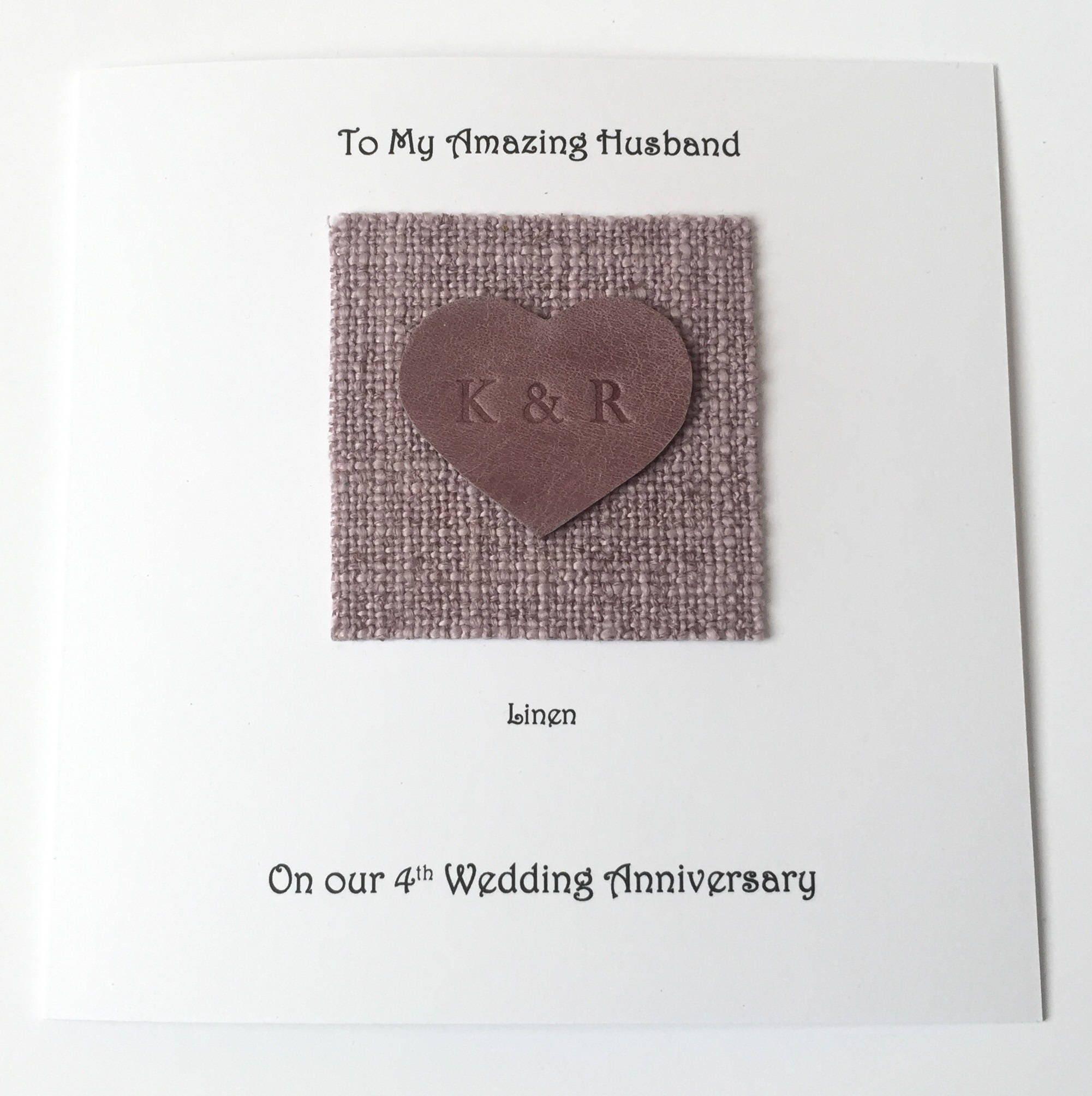 4th wedding anniversary card linen anniversary husband wife handmade uk