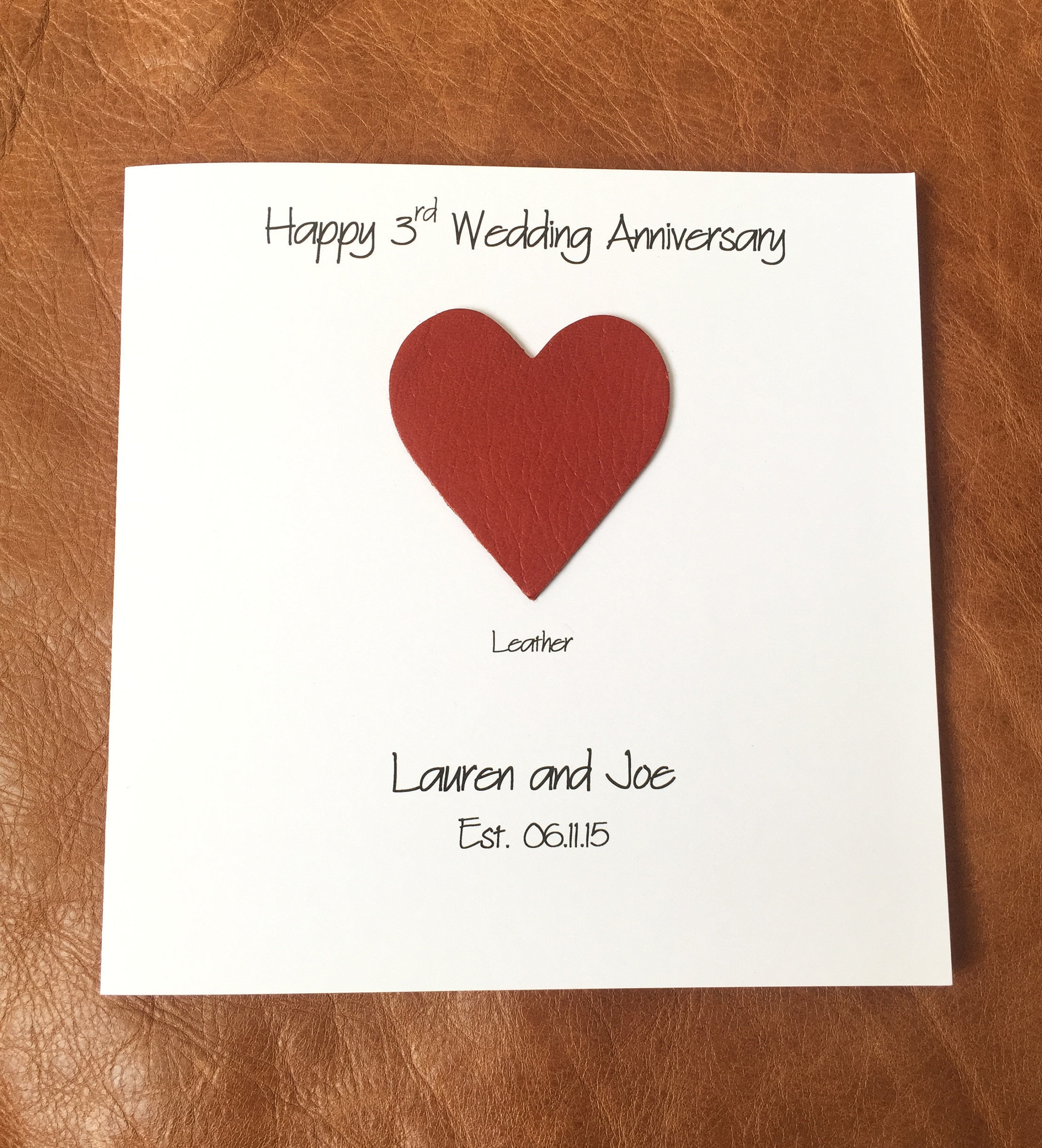 3rd Wedding Anniversary Card Personalised Leather Anniversary Card ...