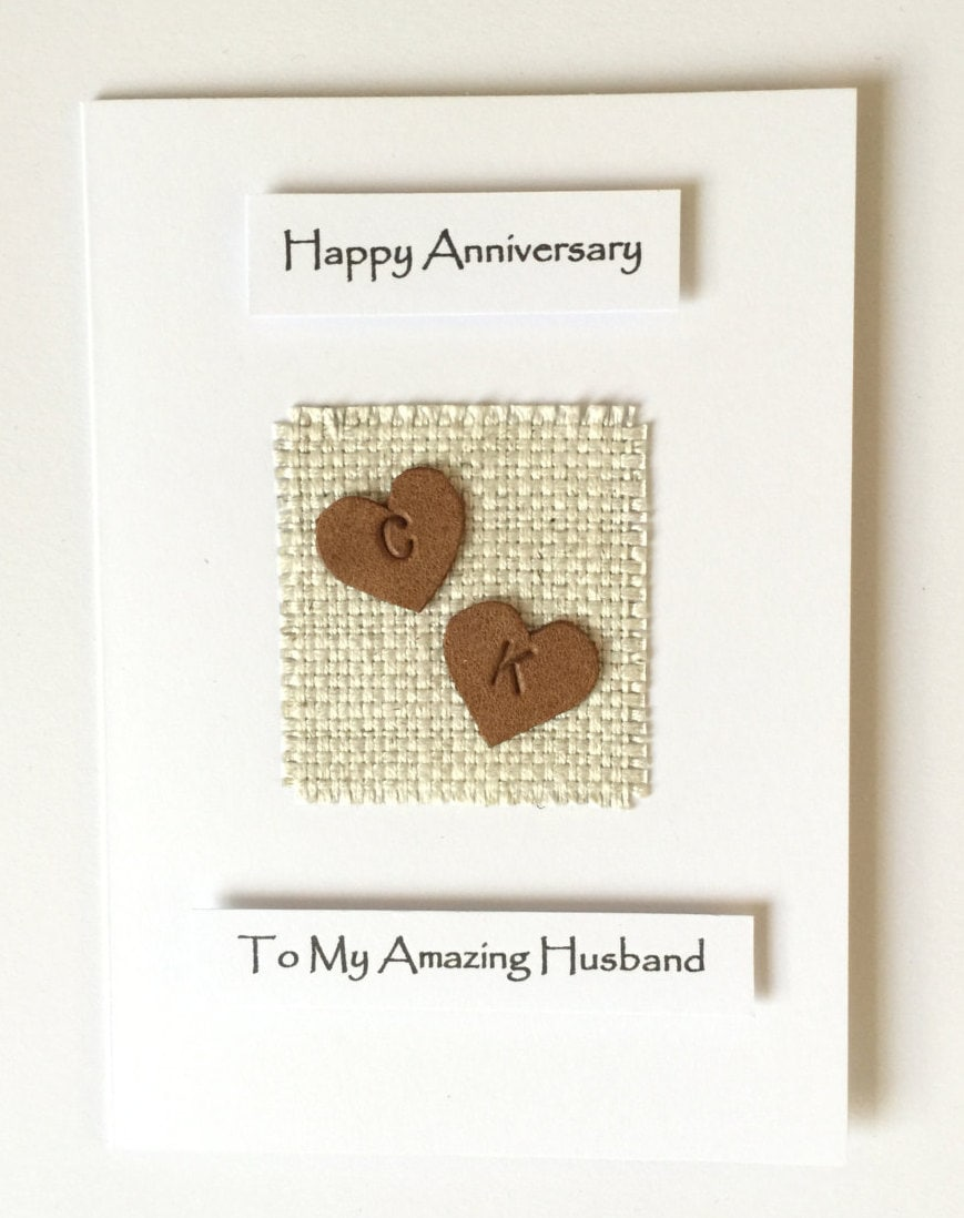 3rd 4th wedding anniversary card personalised initials leather