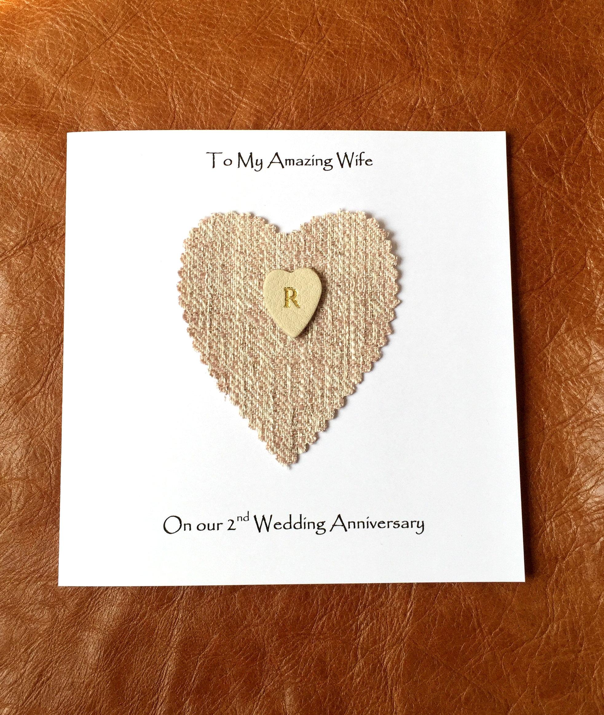 Personalised 2nd Wedding Anniversary Card Handmade Cotton