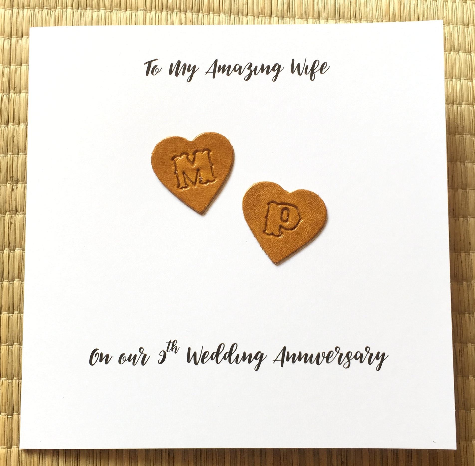 Personalised 9th Wedding Anniversary Card Leather Anniversary Caramel Hearts Handmade