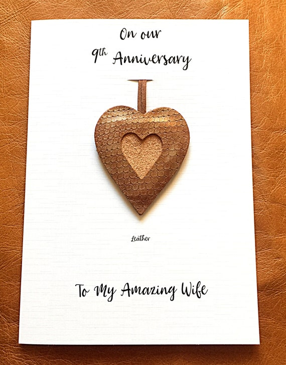 10th Wedding Anniversary Card Leather Heart Ornament Gift Husband Wife Him  Her Leather Anniversary