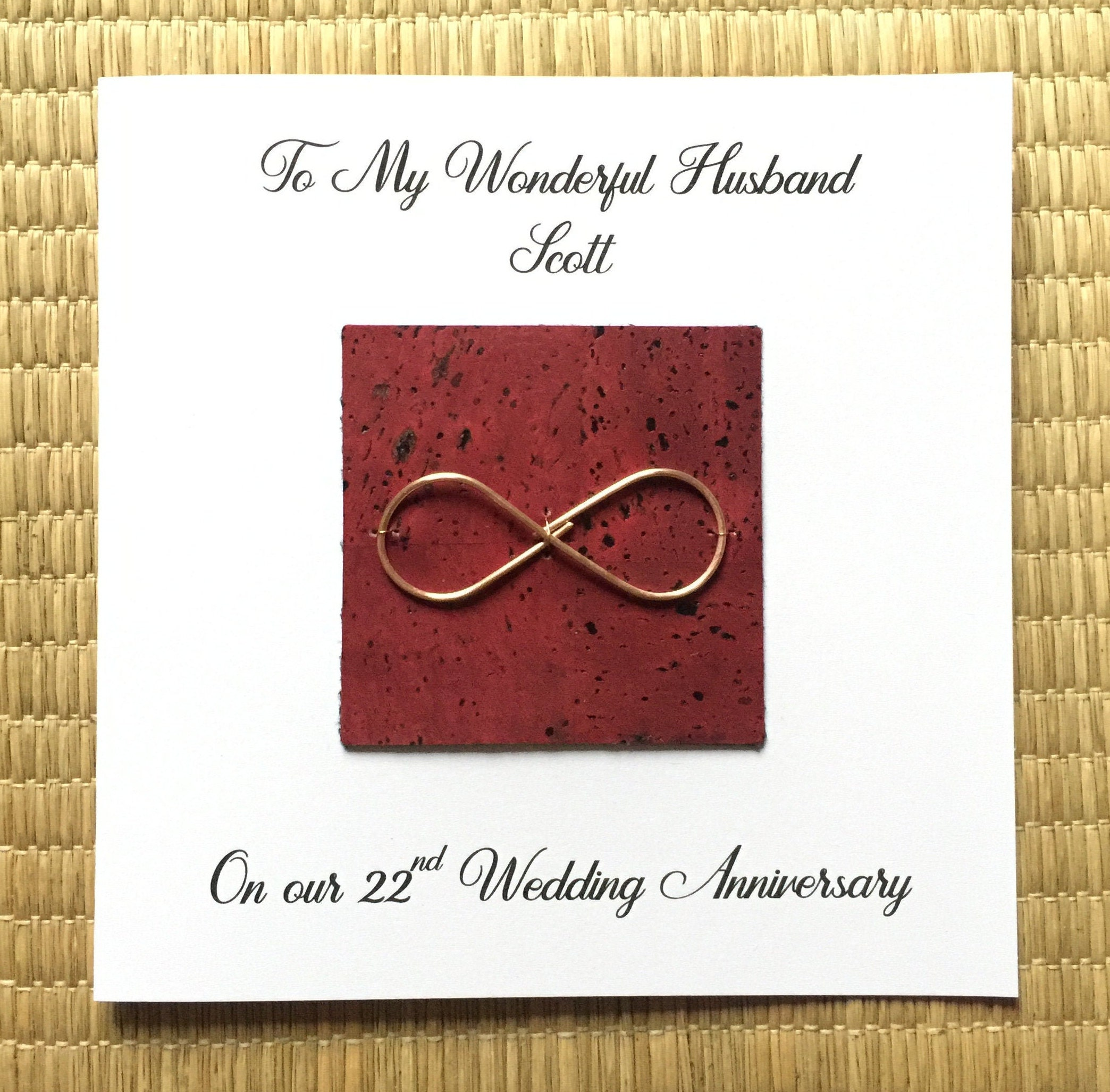 personalised 22nd wedding anniversary card copper