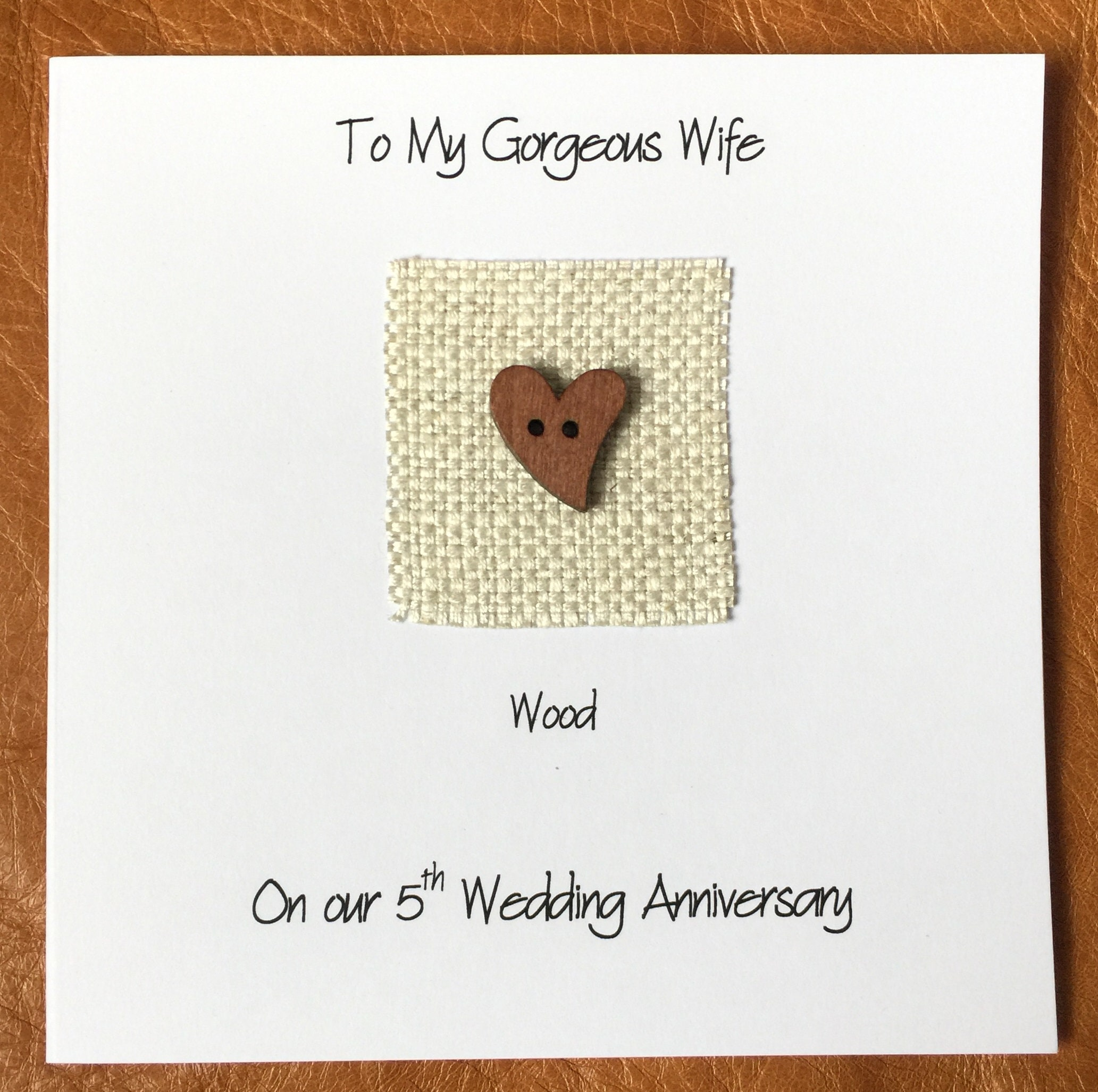 5th Wedding Anniversary Card Wood Anniversary Handmade Greeting Cards
