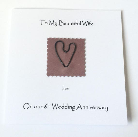 anniversary gift for him GC49 cute handmade greeting cards for husband iron anniversary card Personalized 6th anniversary cards for her