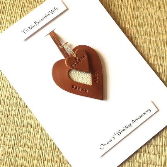 3rd Wedding Anniversary Gift.4th 3rd Wedding Anniversary Leather Gift Cards Personalised Leather Heart Husband Wife Him Her Leather Heart Ornament 3rd Anniversary Gift