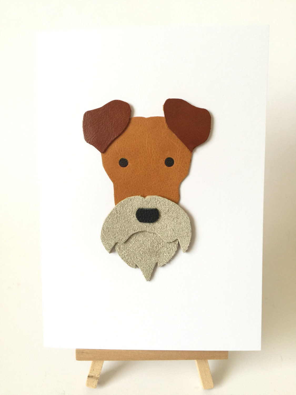 Fox Terrier Dog Leather Art Cards Wire Haired Fox Terrier Greeting
