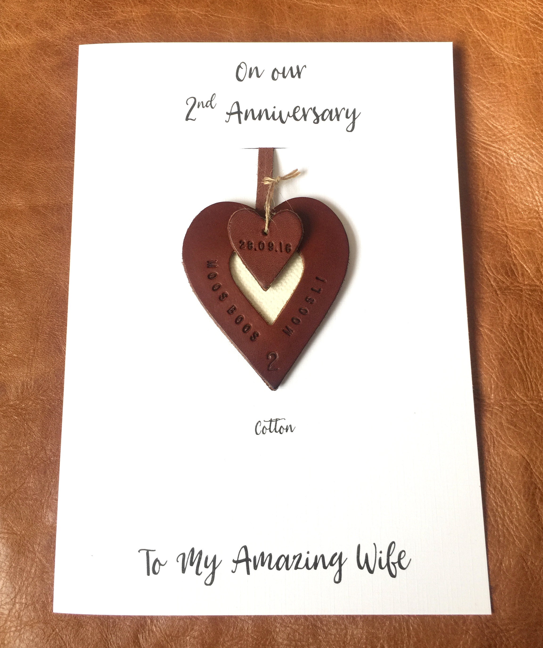 2nd Wedding Anniversary Gifts Uk: 2nd Wedding Anniversary Card And Personalised Leather