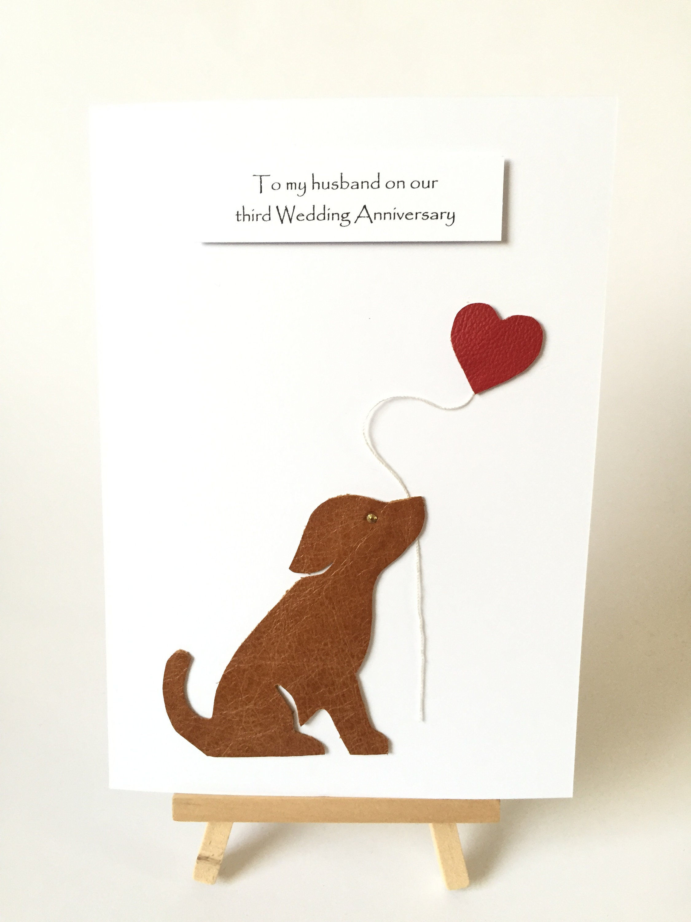 3rd Wedding Anniversary Card Leather Puppy Dog Husband Wife Him Her