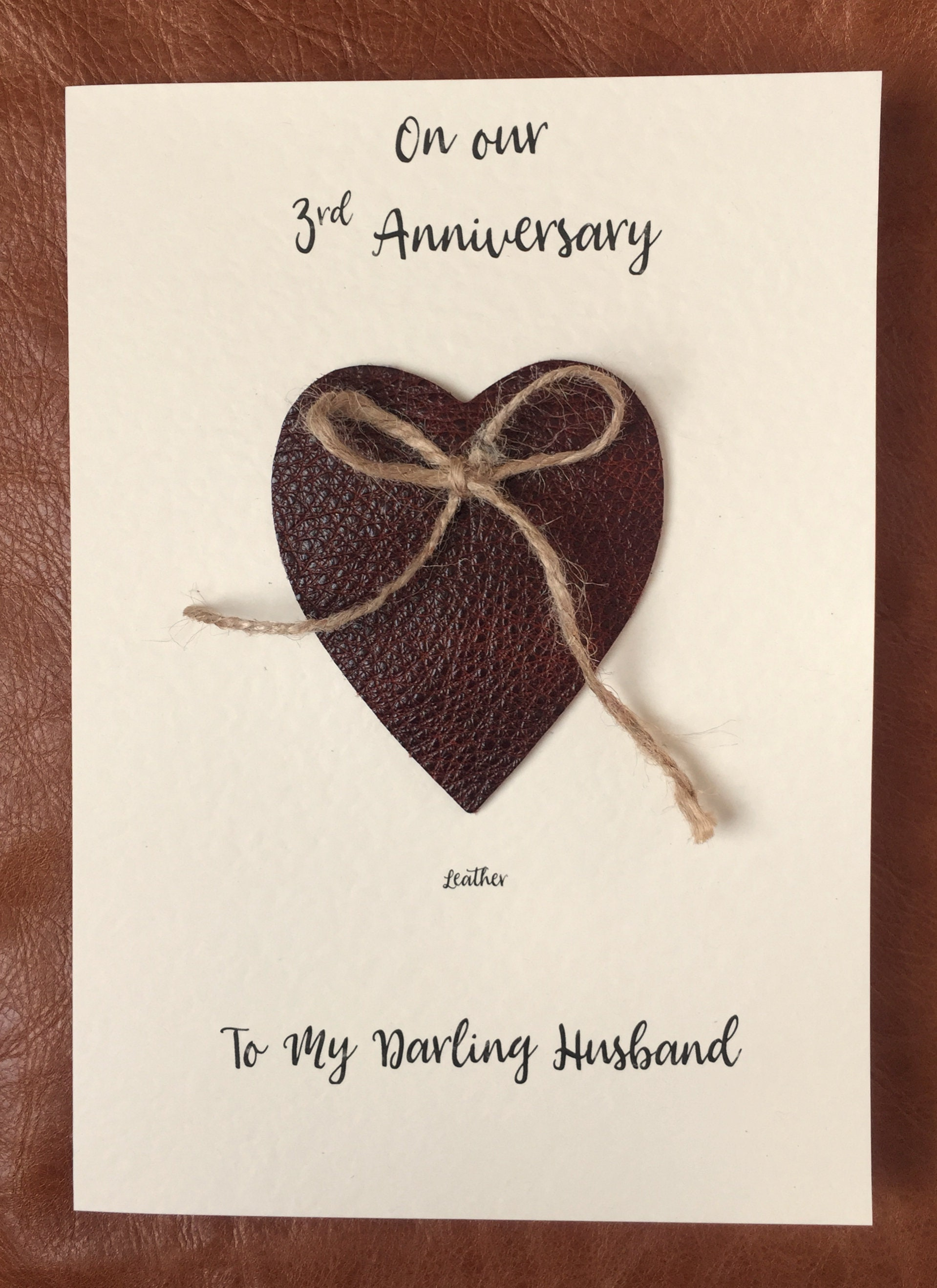 3rd Wedding Anniversary Cards Handmade Leather Anniversary Heart