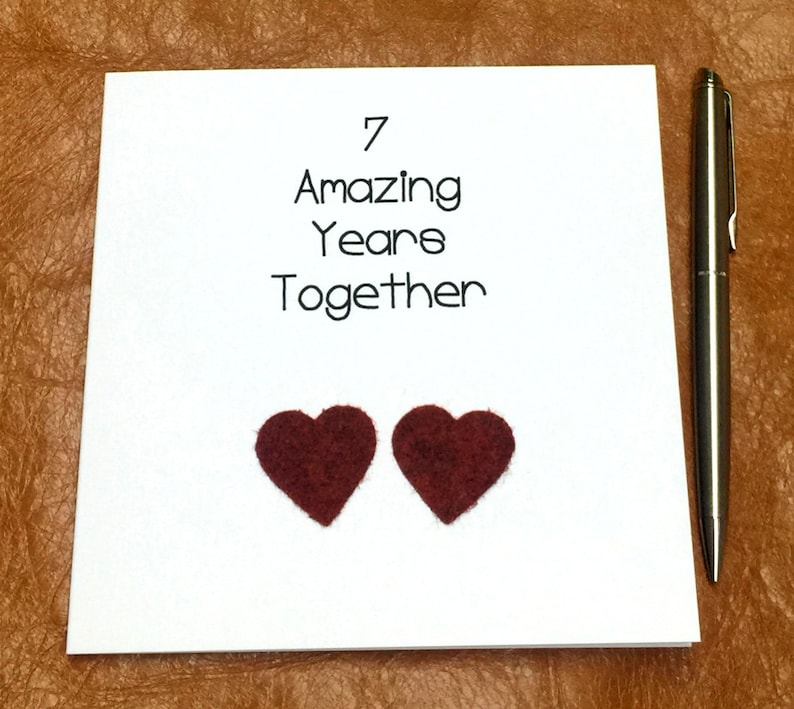 7th Wedding Anniversary.7th Wedding Anniversary Card Wool Anniversary Personalised Him Her Husband Wife Handmade