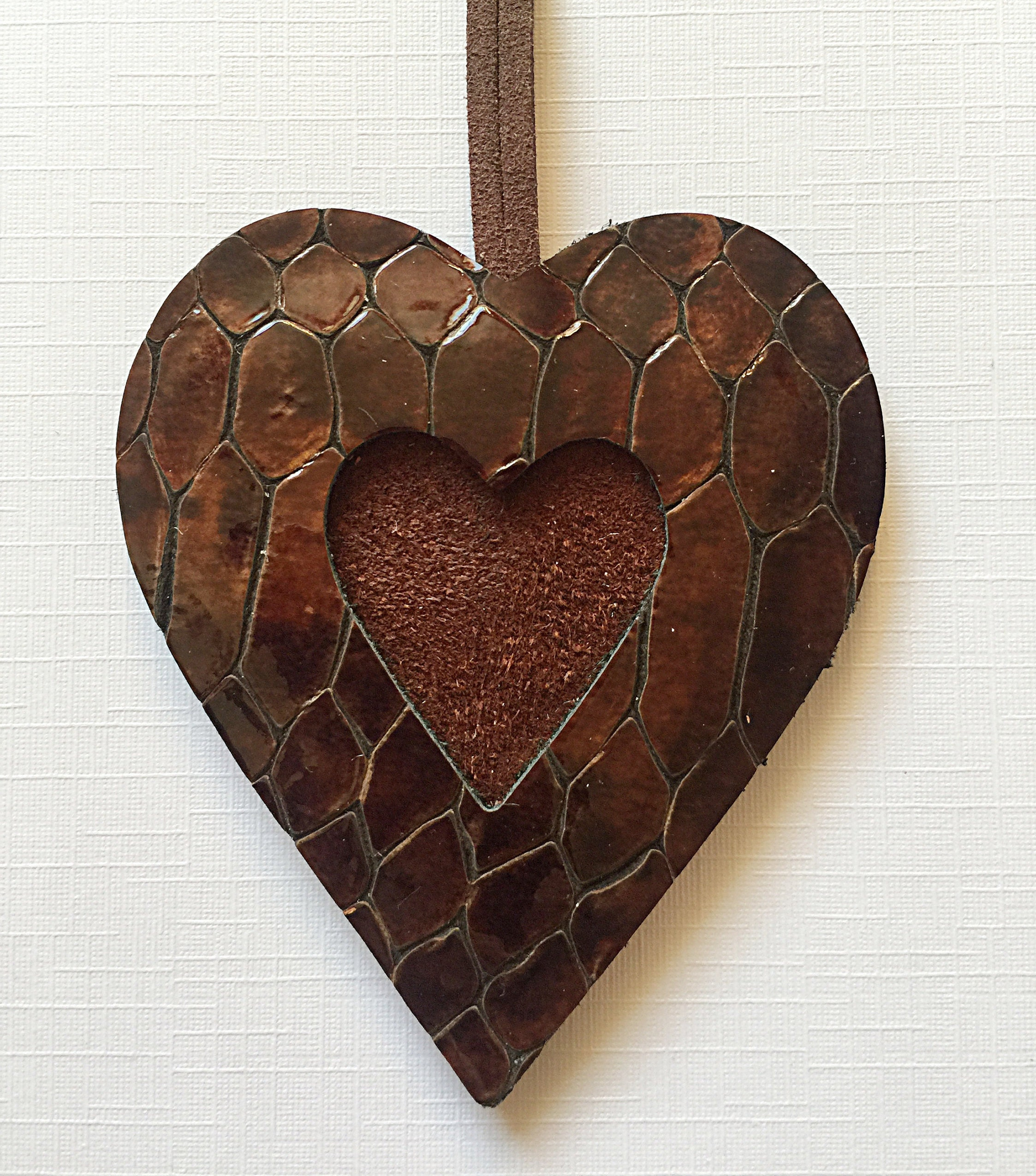 9th Wedding Anniversary Gift Leather: 3rd 9th Wedding Anniversary Card Leather Heart Ornament