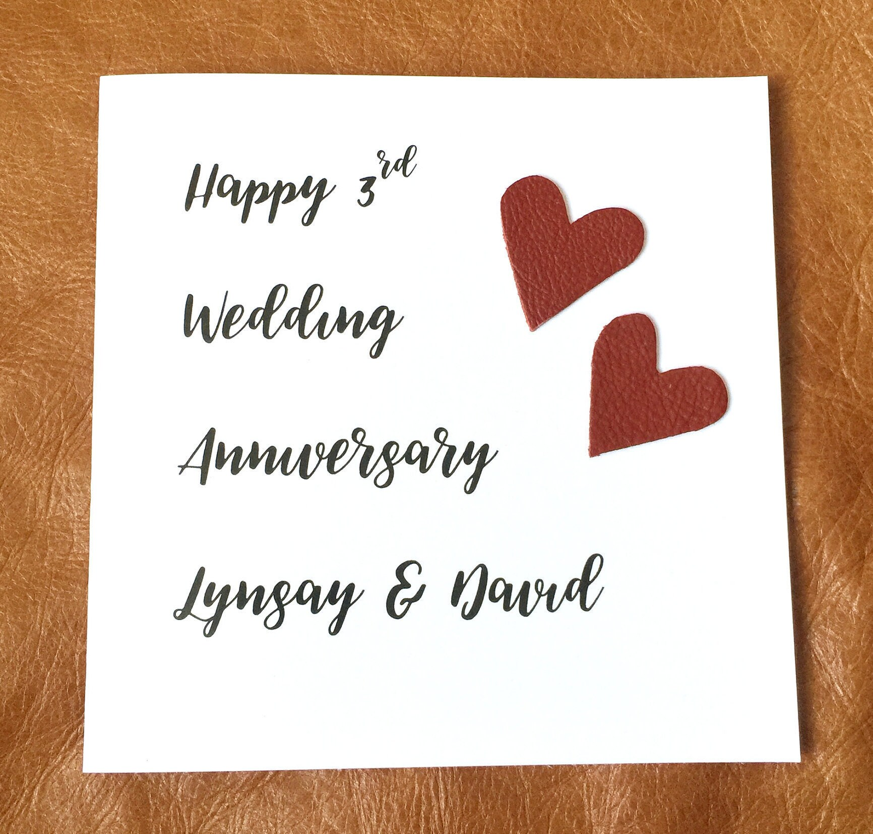 personalised 3rd wedding anniversary card leather