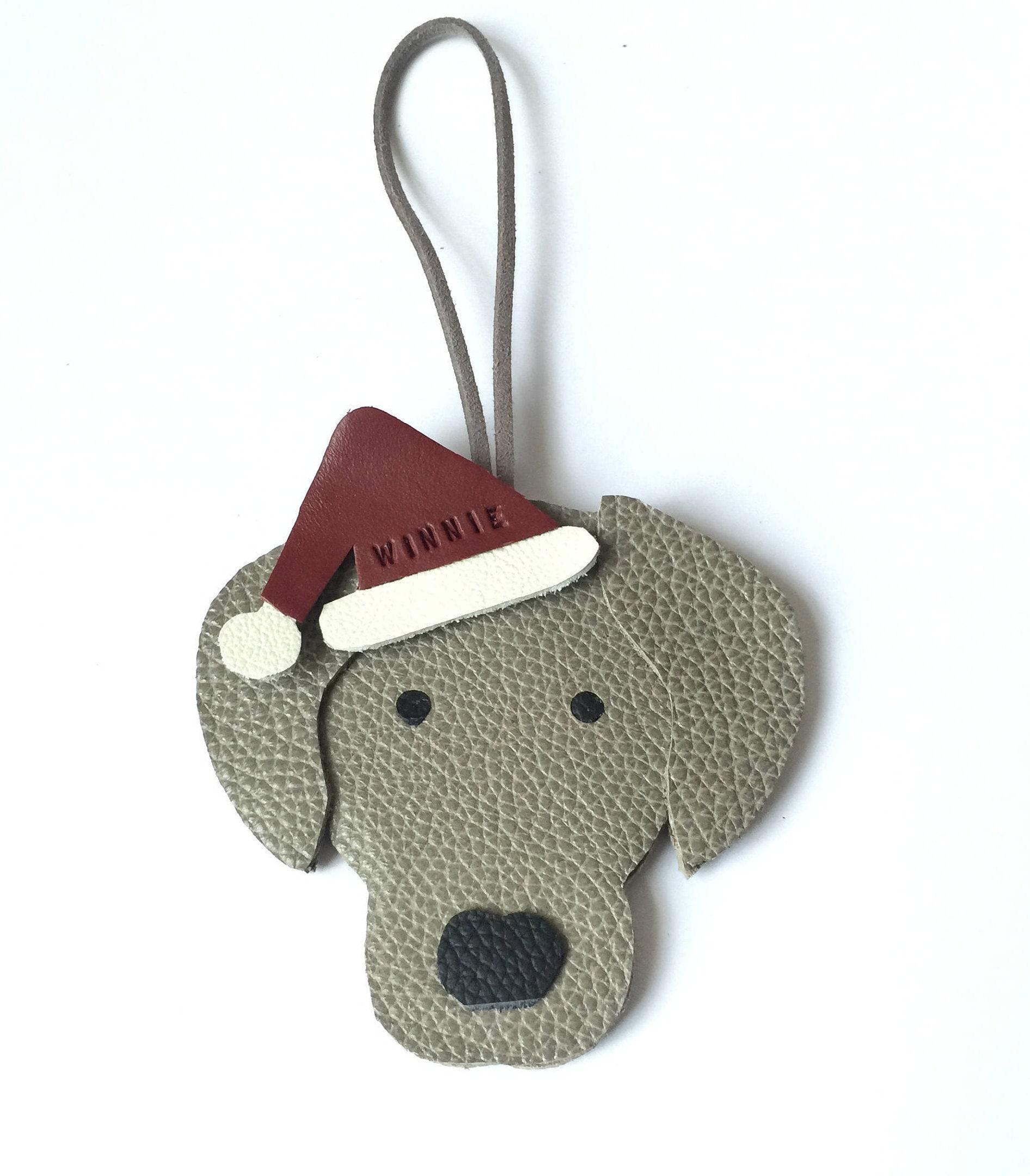 Weimaraner Christmas Ornaments Personalised Leather Weimaraner Santa ...