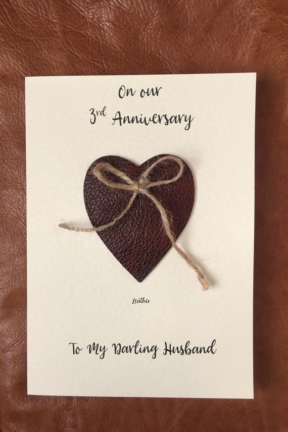 3rd Wedding Anniversary Cards Leather Anniversary Heart Etsy