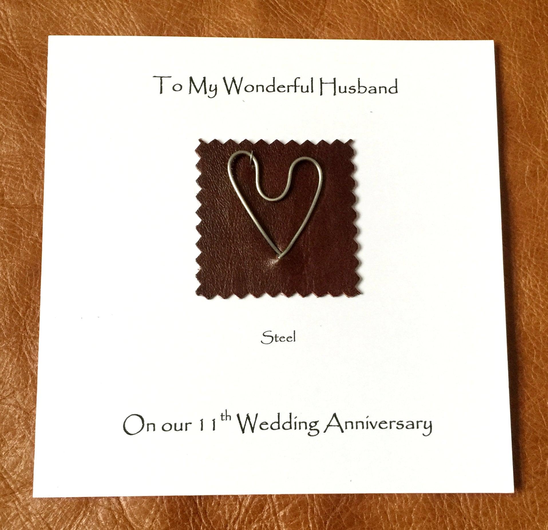 11th Wedding Anniversary Card Steel Anniversary Fancy