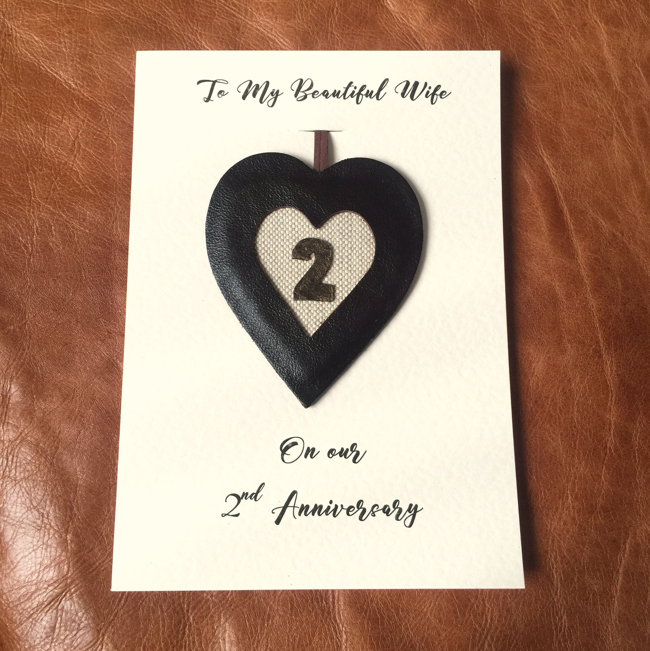 2nd Wedding Anniversary Card Handmade Cotton Anniversary Leather