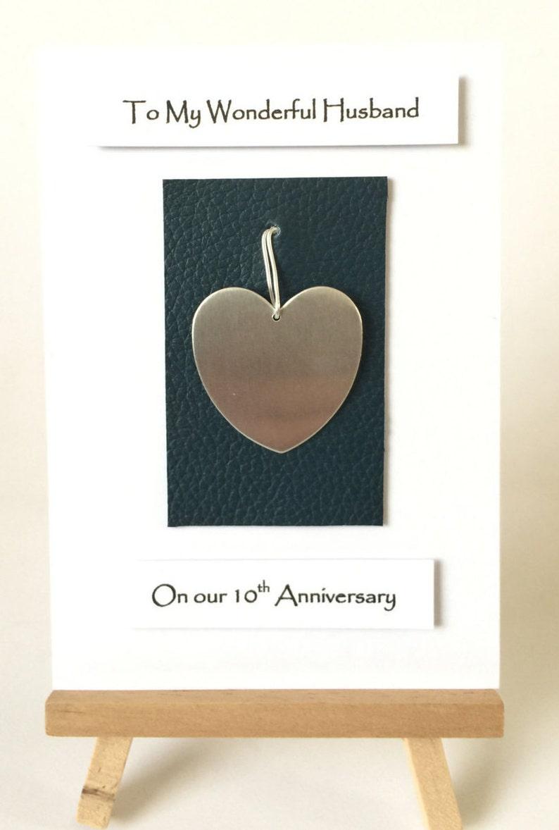 10th wedding anniversary card leather tin anniversary card
