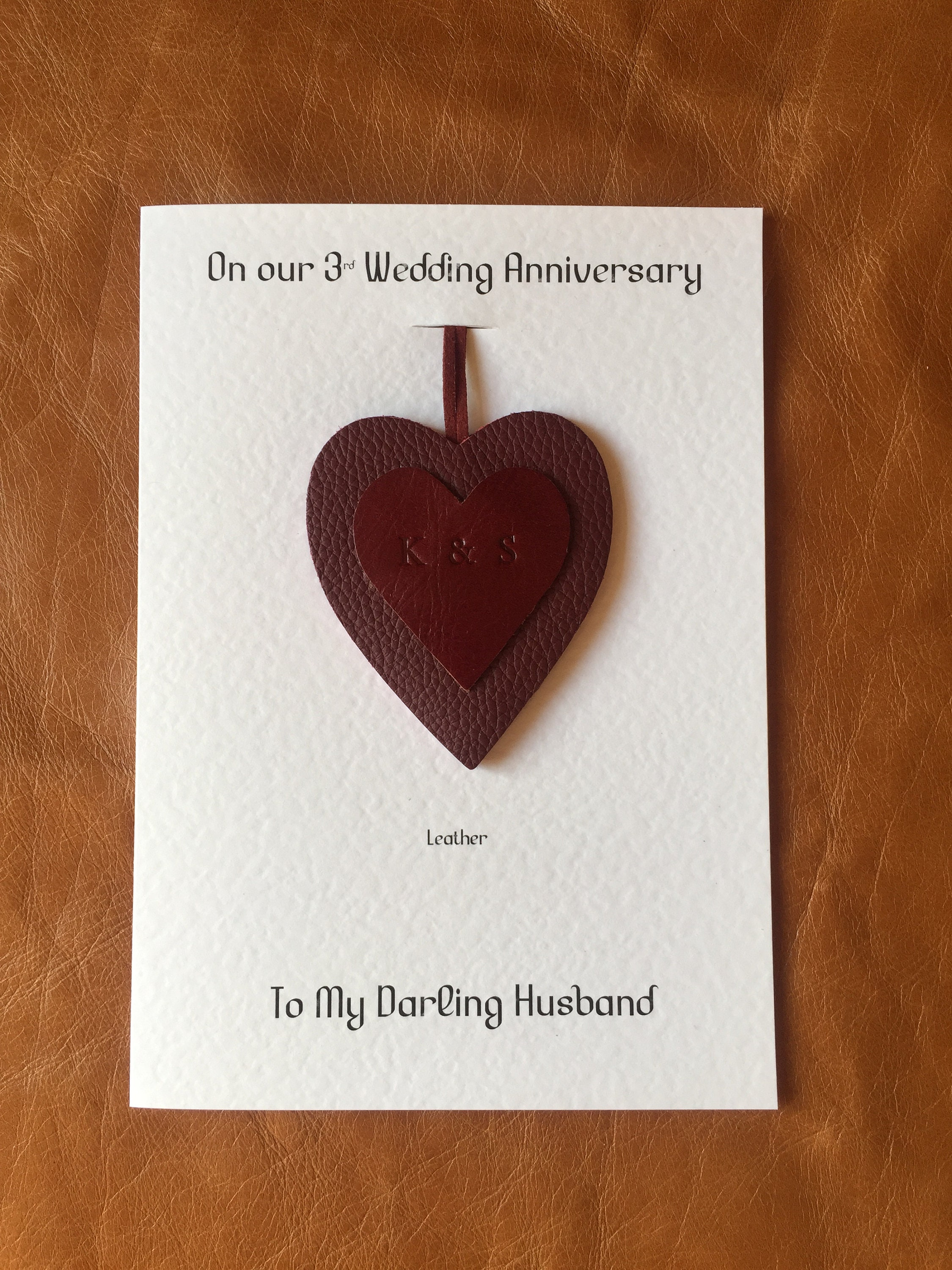 3rd Wedding Anniversary Card Personalised Leather Anniversary Heart