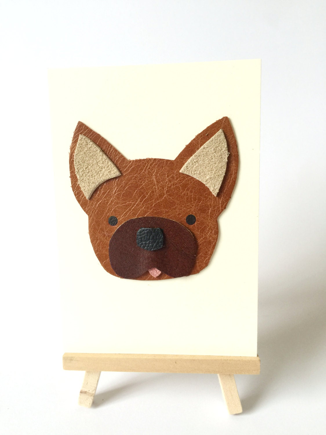 French Bulldog Leather Art Card Frenchie Greeting Cards Fancy Cards