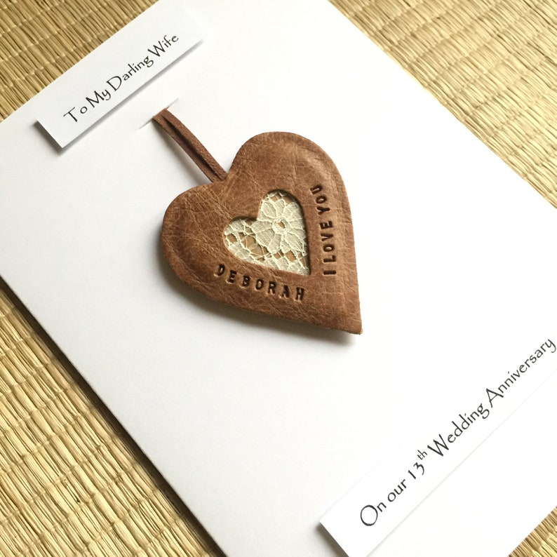 13th wedding anniversary card personalised leather gift