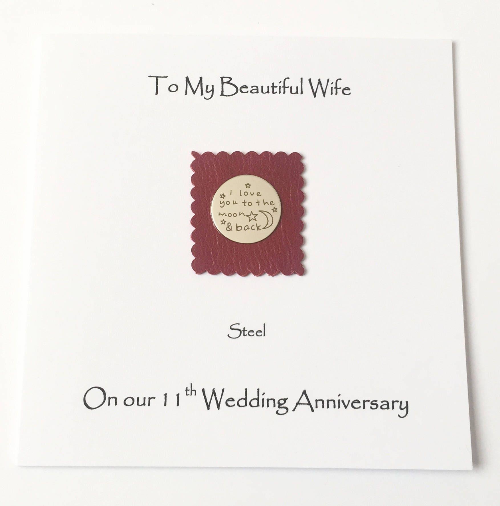 11th Wedding Anniversary Card Steel Anniversary Husband Wife Handmade Uk