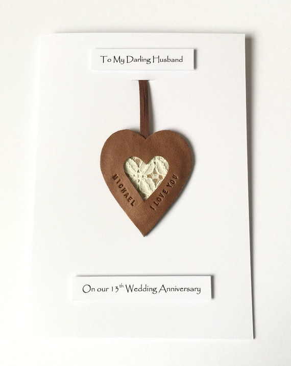 13th Wedding Anniversary Card Personalised Leather Gift Lace Etsy