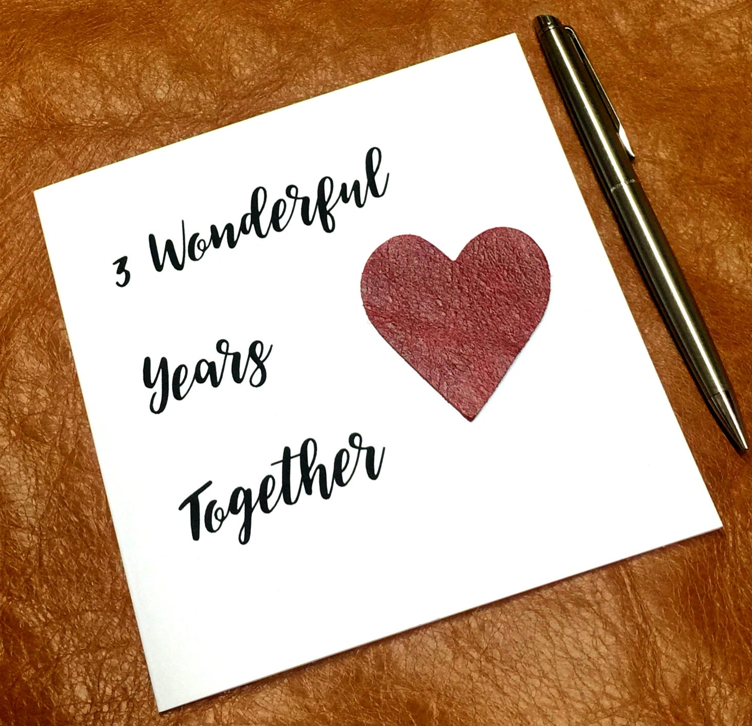 3rd wedding anniversary cards leather anniversary cards