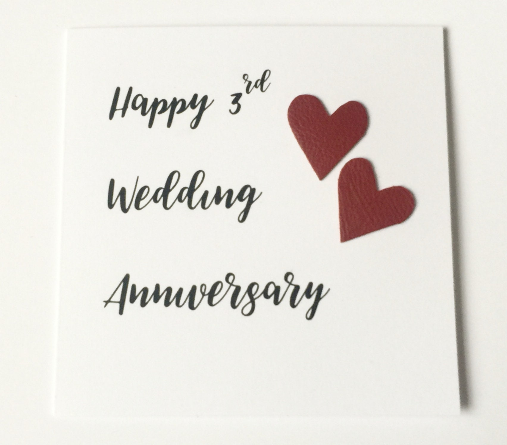 3rd Wedding Anniversary Cards Leather Anniversary Handmade Greeting