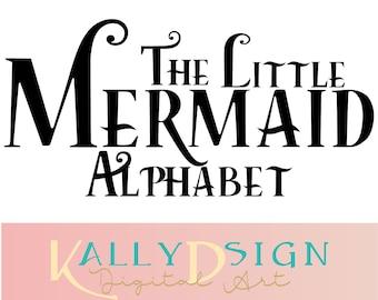 the little mermaid svg, svg fonts, disney svg,  disney alphabet, disney monogram svg, disney princess svg, ariel svg, alphabet letters