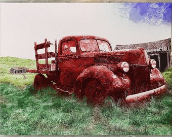 Old Red Farm Truck Abstract Framed Canvas Wall Art Farm Art Truck Art