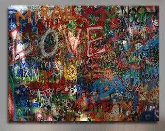 Graffiti on The Lennon Wall Canvas Wall Art d1d4cf0f8cfb8