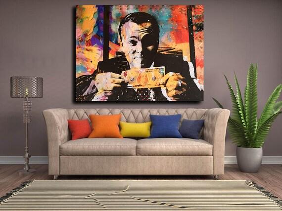 Wolf of Wall Street Canvas Wall Art Money Talks Modern Pop | Etsy