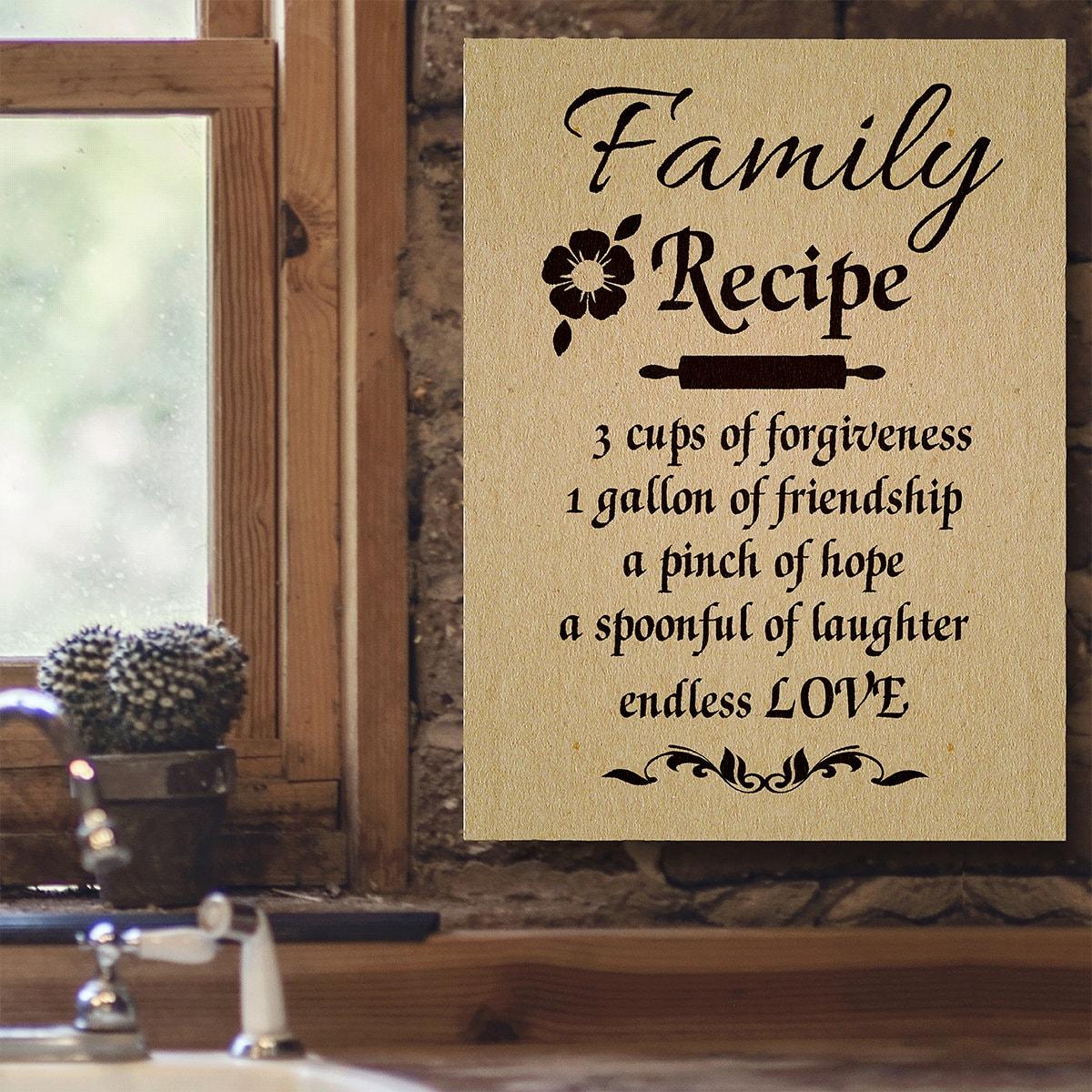 Family Recipe Canvas Wall Art Home Decor Kitchen Decor   Etsy