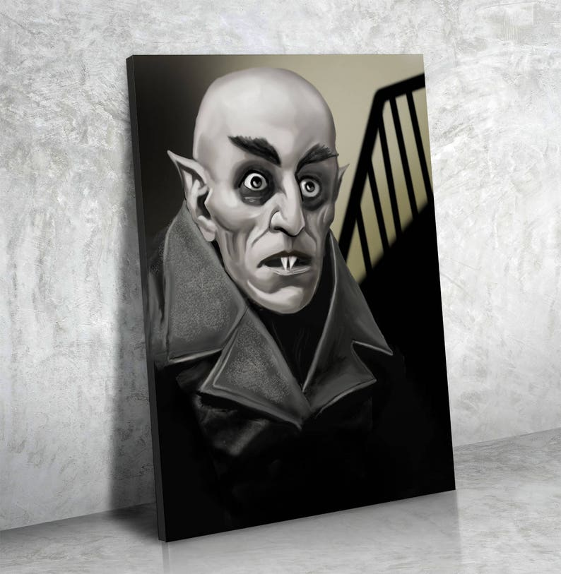 Horror Decor, Dracula, Nosferatu Count Orlok Classic Film Vampire Canvas  Wall Art, Nosferatu Print, Movie Home Decor, Bram Stoker