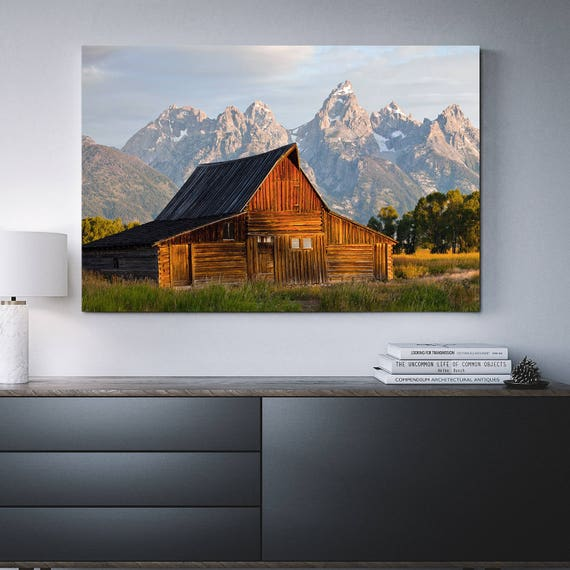 Old Barn Grand Teton Framed Canvas Wall Art Barn Art Etsy