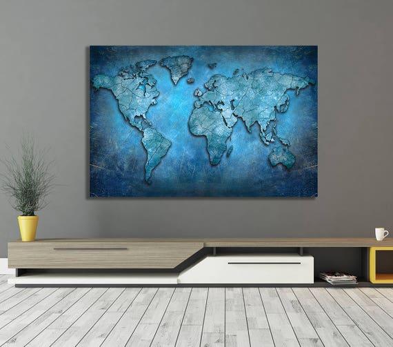 World Map Framed Wall Art.World Map Canvas Blue Abstract World Map Framed Canvas Wall Etsy